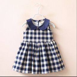 Wholesale 2016 Summer Autumn Children Sleeveless Girls Doll Collar Plaid Dresses Princess Child Dress Clothing Blue Red K7525