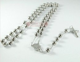 """50pcs 316L Stainless Steel Lady's 4MM Rosary Beads Ball Necklace, 20"""" Length,Free EMS DHL Fedex"""