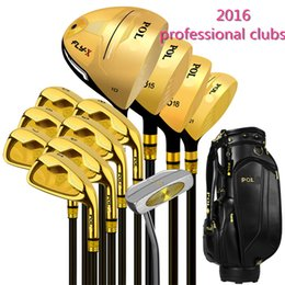 NEW 2016 professional Brand golf full clubs men Gold black golf club set with golf bag putter headcover steel or carbon shaft flex R or S