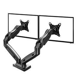 "NB F160 Gas Spring 360 Degree Desktop 17""-27"" Dual Monitor Holder Arm Full Motion TV Mount"