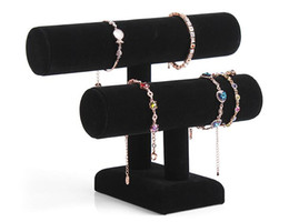 Bracelet élastique Balck 2 couches en velours bijoux Bracelet Montre Montre Support Angle Support T-bar Multi-style Optionnel Livraison gratuite cheap free standing bars à partir de barres autoportantes fournisseurs