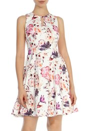 Floral Flower Print Women A-Line Dress Sleeveless Casual Dresses 074A671
