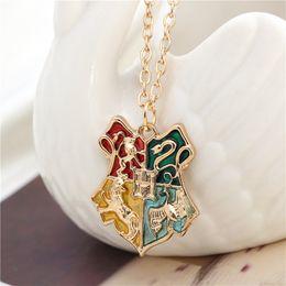 Wholesale 2016 Potter Necklace Magic Academy badge Pendants Letter H Snake Lion Eagle Badger Animal Enamel Jewelry For Women Men FansHarry zj