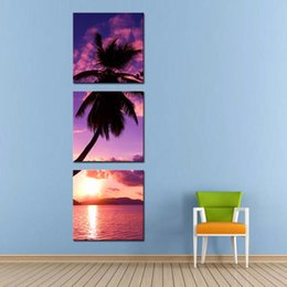 Wholesale LK390 Panel Seascape Palm Tree On The Beach Oil Painting Wall Art Modern Pictures Print On Canvas Paintings Sale For Home Bar Hub Kitche