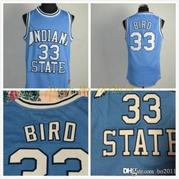 Wholesale Larry Bird Indiana State Jersey Indiana State Sycamores Bird White Blue College Jersey Size S XXL