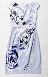 Flower Print Women Sheath Dress Pleated Dresses 044A564