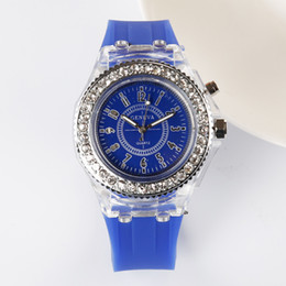 Wholesale Crystals Diamond Stones - 2016 New Led light Geneva diamond stone crystal watch unisex silicone jelly candy fashion flash up backlight watches free shiping