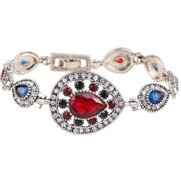 2016 summer new European and American fashion retro teardrop-shaped red gem glass bracelet elegance woman jewelry