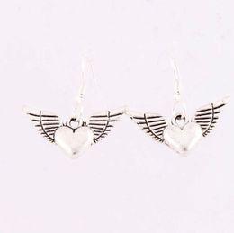 Wholesale 25x27mm Silver Fish Hook Tibetan Silver Angel Wing Heart Shaped Pendant Charm Earrings E189 Fashion