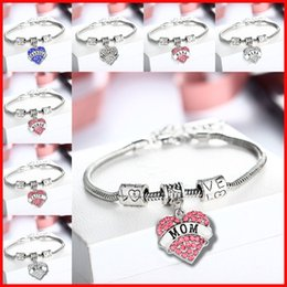 Wholesale 45 types Diamond love Heart bracelet crystal family member Mom Daughter Grandma Believe Faith Hope best friend wristband for women