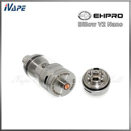 Billow v2 en Línea-100% Original Ehpro Billow V2 Atomizador Nano RTA 3.2ml Vidrio Pyrex Eciggity Billow V2 Nano Tanque Negro Acero inoxidable Disponible