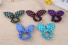 Wholesale 2016 female fashion jewelry Snood Hair Band Korea lovely big rabbit ears color fabric hair rope