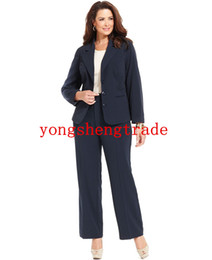 Custom Made Suit Navy Women Suit Plus Size Stretch Suiting Three Button Jacket & Pants HS7949