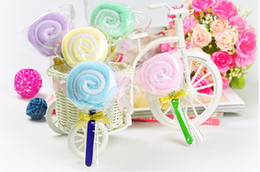 Wholesale Mixed colors New Fashion Lollipops cake towel cotton towel Party Favors Wedding birthday gift Christmas gift