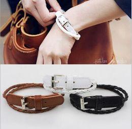 Wholesale 2016 Custom InfinityLeather PU bracelet Belt Motorsport Bracelet Wax Cord Wrap Braided Leather Adjustable Bracelet Bangle Charm Bracelet