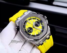 Wholesale Super Clone Brand Watch ST OO A051CA Yellow Dial Gents Watch Quartz Chronograph Mens Watch Yelllow Rubber Strap Best Watch
