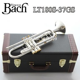 Wholesale New Bach Brass Trumpet LT180S GS Bb Silver Plated Trompeta Profissional Instrumentos Case Mouthpiece