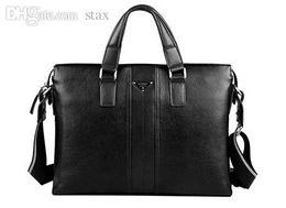 "Wholesale-Real Genuine Leather Bag Men Messenger Bags Business Cow Leather Men Travel Bags Portfolio Briefcase 14"" Laptop #VP-P630181"