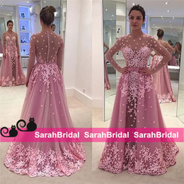 Arabic Peplum Long Sleeve Evening Prom Dresses Said Mhamad Pink Sheath Sheer Neck Jewel Applique Long Celebrity Wear Formal Party Gowns