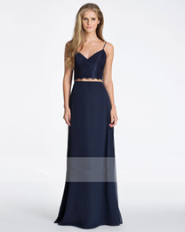 Wholesale 2016 Popular Navy Lace Crop Top With Indigo Chiffon Two pieces Bridesmaid Dresses A Line Skirt Scallop Detail At Neckline Waist Plus Size
