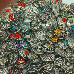 Wholesale Retro MM Snap Button Metal Rhinestone High Qualit Mixed Style Snap Chunk Diy Jewelry Fit For Noosa Snap Chunk Button Charm Bracelet
