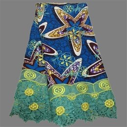 Wholesale Popular blue with fuchsia embroidery cotton wax cloth African batik wax fabric with guipure lace for party WLF45 yards
