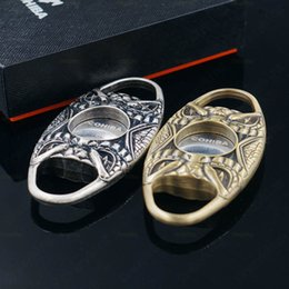 Wholesale Cohiba Antique Copper Silver Double Blades Pocket Cigar Cutter Scissors With Gift Box