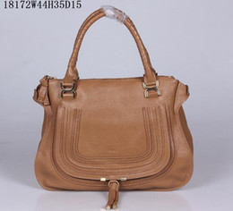 Wholesale Women Large Marcie grained calfskin Bag Leather wrapped top handles Horseshoe flap pocket on front Top Zipper closure gold hardware