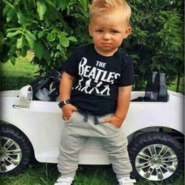 Wholesale Hot Sale Baby Boy clothes black Short Sleeve T shirt Tops Pants set boy Outfit Clothing Set Suit with printed
