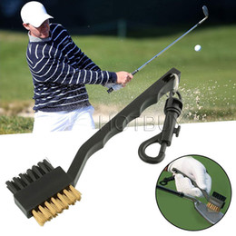 Wholesale Double Side Brass Nylon Golf Club Brushes Golf Club Head Groove Cleaner Cleaning Brush Tool Kit with Hanger Black