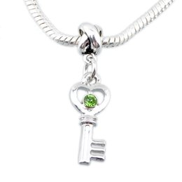 New Fashion key pendants Love heart Lock Key European Beads Charm Hot Jewelry For Pandora Bracelets Snake Chain