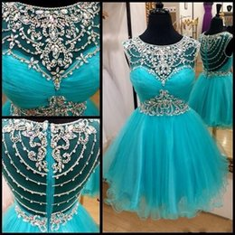 Spark 2016 Rhinestones Major Beading Short Cocktail Prom Dresses Hunter Green Cute Crew Sheer Neckline Mini Party Homecoming Ball Gown