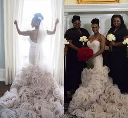Luxury Organza Ruffles Bottom Wedding Dresses 2019 Backless Mermaid With Beaded Sash Black Girl Amazing Trumpet Beach Bridal Gowns
