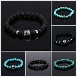 Wholesale Bracelet Natural Stone bead Buddha Bracelets For Women and Men Silver Buddha Turquoise pulseras mujer Black Lava Bead Bracelet
