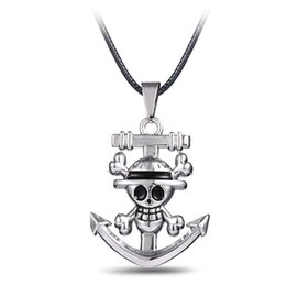 Hot!Japan Anime One Piece Luffy Skull Anchor Pendant Necklace For Fashion Anime Cosplay Leather Chain Pendant Necklace Jewelry Gift