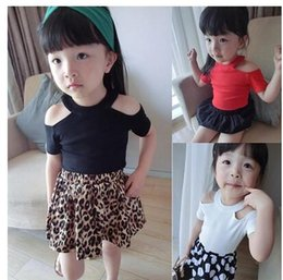 Wholesale Christmas Fashion Tshirts - New Novelty Girls Tshirts Solid Color Cotton Kids Sexy Off Shoulder Tees Summer Clothing Free Shipping