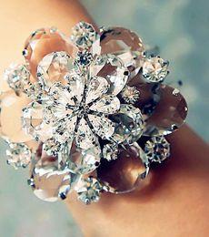 Wholesale luxury bridal crystal champagne crystal white bracelet three dimensional crystal glass rhinestone flowers bracelet hand Valentine s Day