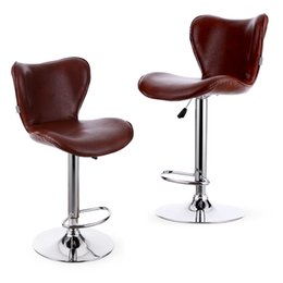 Wholesale IKAYAA Set of PU Leather Swivel Bar Stool Chair Height Adjustable Pneumatic Counter Pub Chair US STOCK H16715