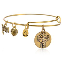 Wholesale Alex and Ani Spiritual Armour Cross Expandable Wire Adjustable Bracelets Flag Heart Animation Movie Charm Bracelets Jewelry Gifts For Girls