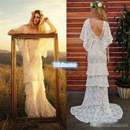 Wholesale Full Lace Tiered Country Bohemia Beach Wedding Dresses Bateau Neckline Bat Sleeves Bridal Dress Floor Length Custom Made Wedding Gowns