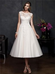 Wholesale 2016 News Vintage A line Portrait Neck Tea Length Ivory Lace Tulle Sheer Wedding Dresses with Covered Button
