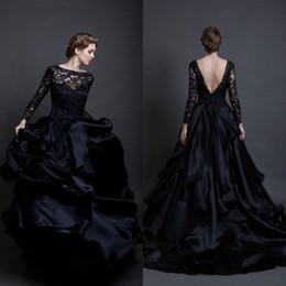 black long sleeved wedding dress 2017 ball gown bridal gowns bateau neckline lace bodice chiffon skirt wedding gowns