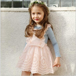 Wholesale 2016 Baby Girls Tulle Lace Dresses Kids Girls Hallow Out Suspender Dress Babies Princess tutu Dress Children s Spring Christmas Clothing