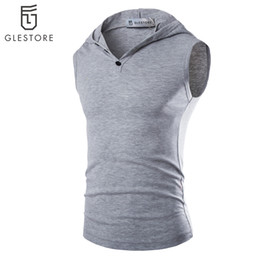 Wholesale-Men fitness body building Tank Top Gym Fitness Singlets Mens T-Shirt Sleeveless Cotton Tank Running Tops Vest Muscle Singlets