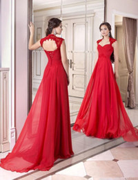 Elegant Style Long Red Evening Dresses Backless Cap Sleeve Lace Chiffon Latest Simple Party Gowns robe de soiree Custom E026