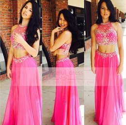 2016 Stunning Beads Halter Prom Dress Sexy Sheer Backless With Fuchsia Chiffon Two Pieces Glitz Long A Line Runway Evening Party Gown BA1384