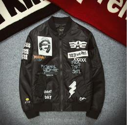 Wholesale Men jacket original tide card ROCK cartoon printing baseball clothing patch MA1 flight jacket men clothing