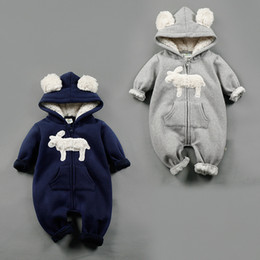 Wholesale NEW Design infant Kids Winter Cashmere Romper Stereo Little Sheep long sleeve baby warm Climb clothe boy girls Winter Rompers set RMY40