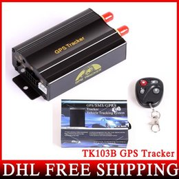 Pc shock del sistema en venta-10pcs / lot DHL UPS FEDEX TK103B con teledirigido dual y sensor del choque de banda cuádruple GPS 103 GPS Sistema PCWeb-Basado