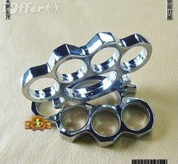 FREE SHIP 2PS silver BRASS KNUCKLES DUSTER